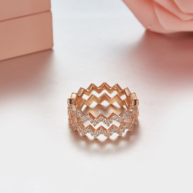 Flashing Ring with Micro pave Zirconia Stones - Lova