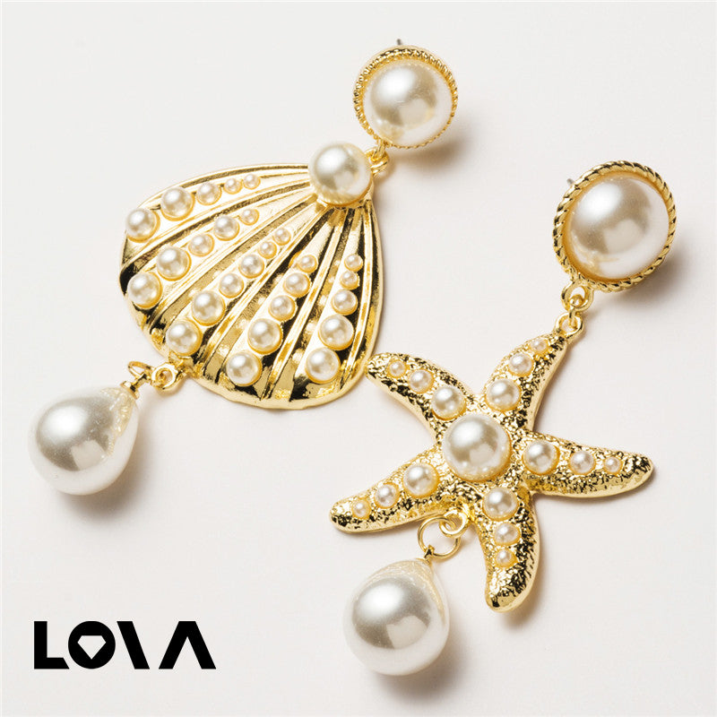 Starfish Shell Imitation Pearl Asymmetrical Charms Drop Dangle Earrings - Lova