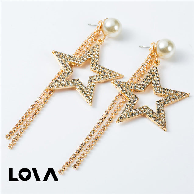 Alloy Starfish Shell Imitation Pearl Asymmetrical Earrings - Lova