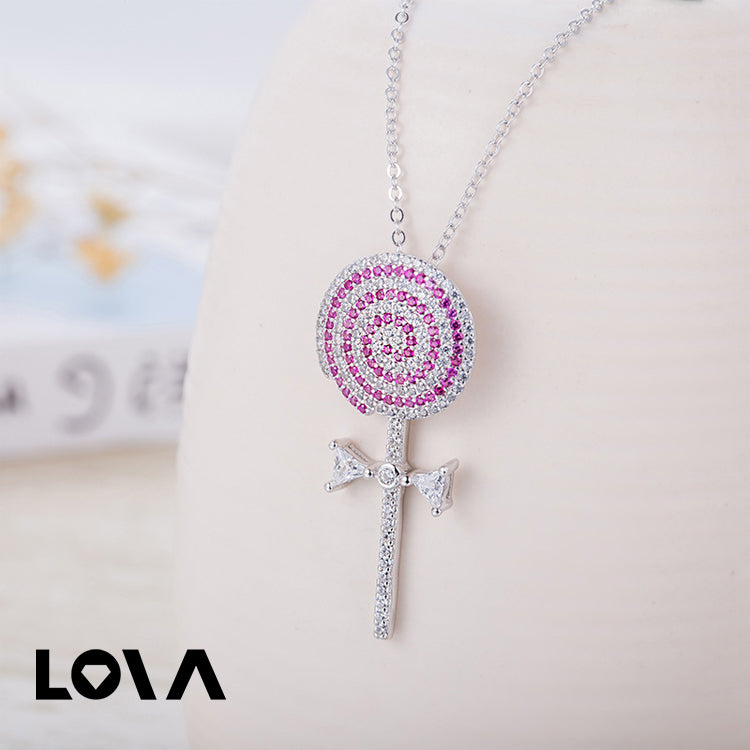 Wave Board Sugar Luxury Full Zircon Pink Color Lollipop Sucker Pendant Necklaces - Lova