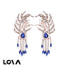 Women's Ear Hoops Tassels Rhinestone Decor Elegant Earrings Accessory - Lova