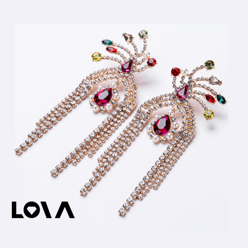 Women's Ear Hoops Rhinestone Decor Color Block Earrings Accessory - Lova