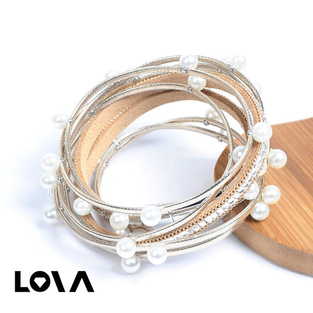 Women's Fashion Bracelet Multi Layer Design Imitation Pearls Design Sweet Trendy Bracelet Accessory - Lova