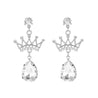 Women's Ear Drop Rhinestone Inlay Crown Pattern Earrings Accessory - Lova