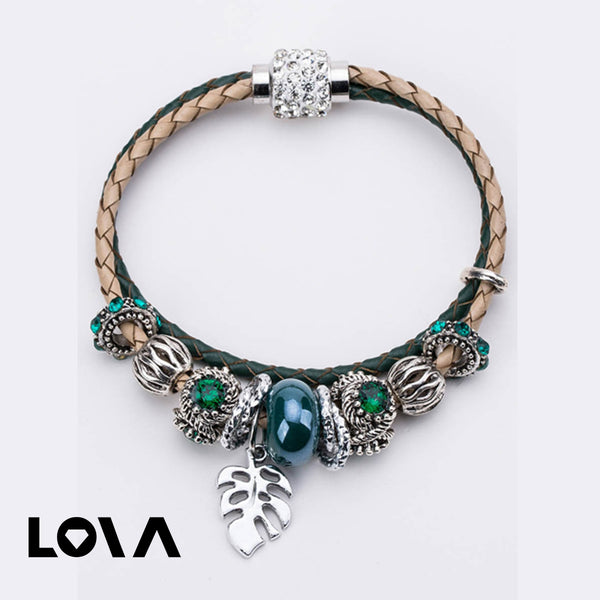 Women's Fashion Bracelet Knitted Design Beads Leaf Decor Vintage Stylish Bracelet - Lova