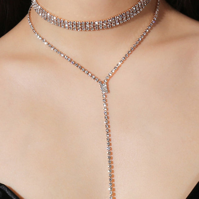 Women's Fashion Necklace Rhinestone Inlay Delicate Chic Accessory - LovastyleOfficial