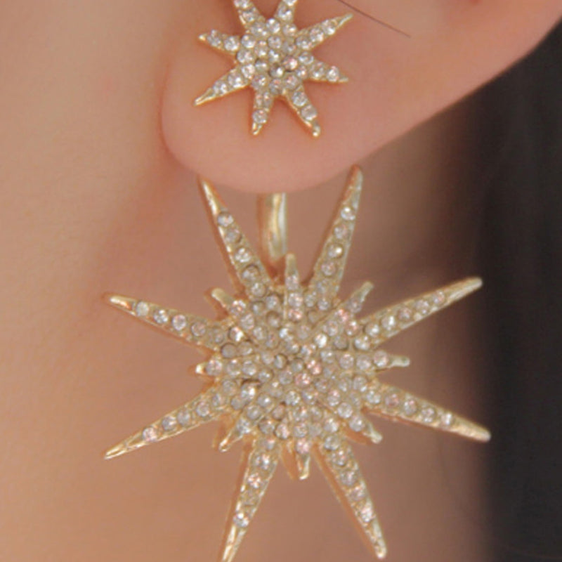 1Pc Women's Earring Stud Snowflake Shaped All Match Rhinestone Studded - Lova
