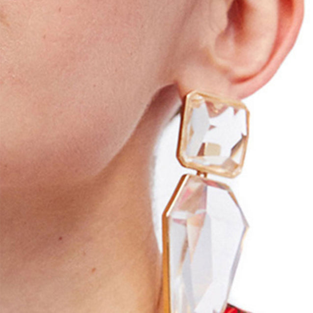 Women's Creative Artificial Crystal Hoop All Match Fashion Geometric Earrings - Lova