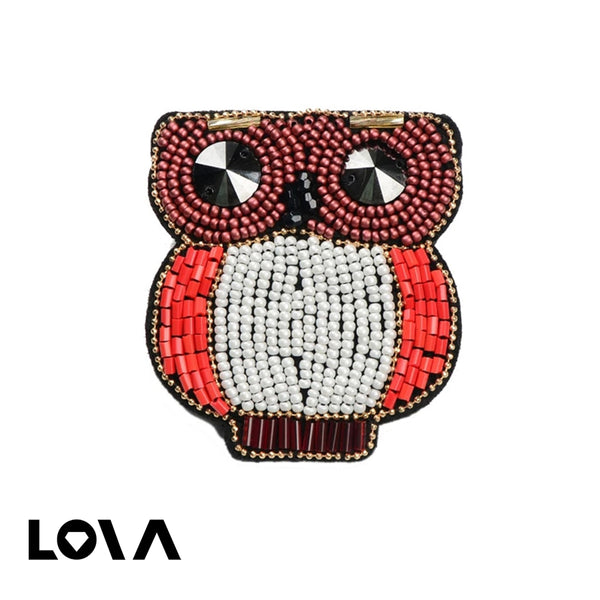 Women's Brooch Pin Owl Shape Bead Design Lovely Cute Accessory - Lova