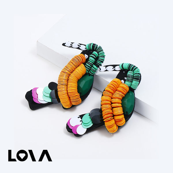 Women's Studs Parrot Shape Creative Woven Earrings - Lova