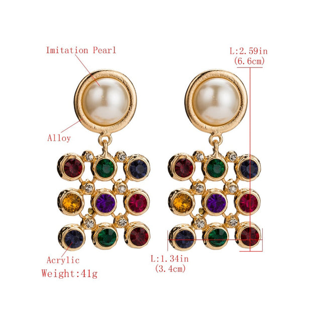 Women's Drop Earrings Rhinestone Inlay Personalized Earrings Accessory - Lova