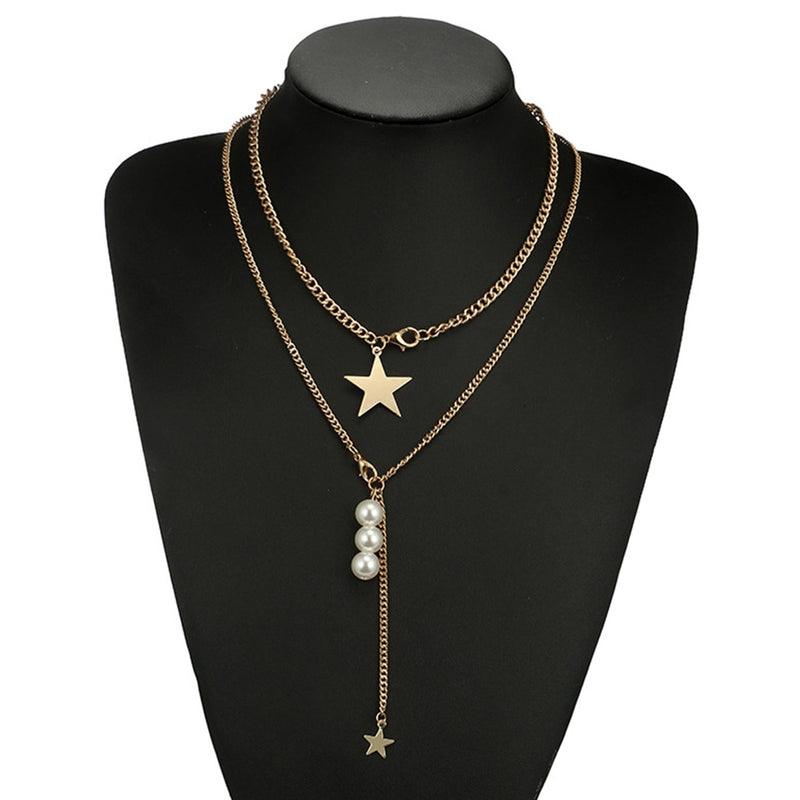 Women's Necklace Multi Layers Design Ladylike Star Shape Necklace Accessory - Lova