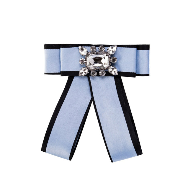 Women's Bow Brooch Pin Multi Layers Design Rhinestone Inlay Accessory - Lova