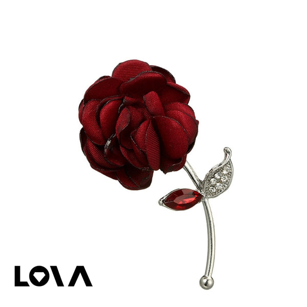 Women's Pin Retro Style Rose Shaped Rhinestone Decor Elegant Accessory - Lova
