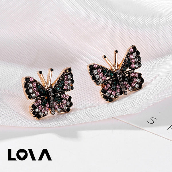 Women's Studs Color Block Butterfly Shape Sweet Ladylike Earrings - Lova