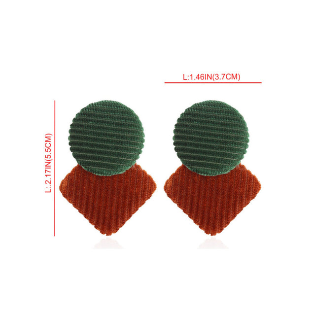 Women's Earrings Fashion Sweet Colorblock Round Square Shape Ear Accessory - Lova