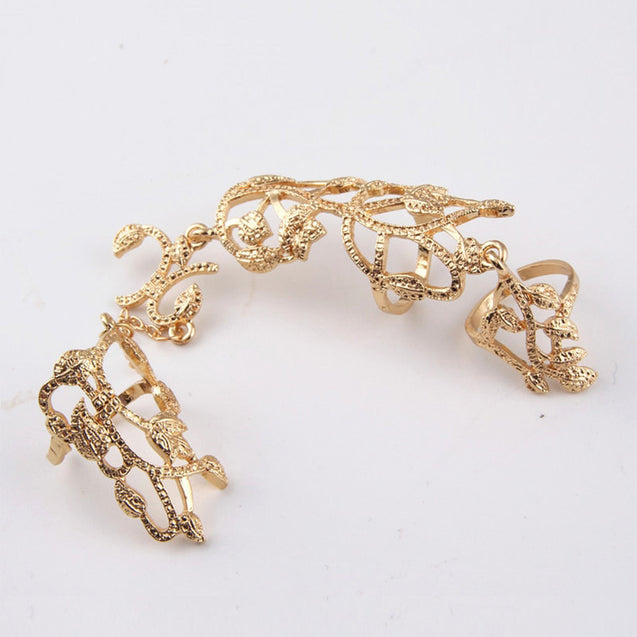 1Pc Women's Multi Finger Ring Creative Chic Hollow Out Leaf Design - Lova