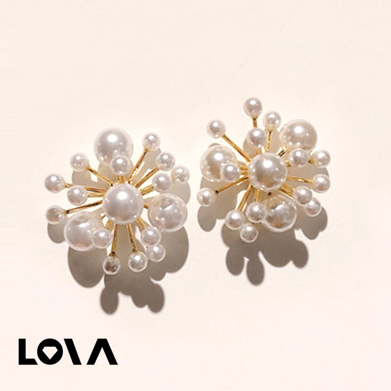 Women's Studs Pearl Decor Firework Design Elegant All Match Accessories - Lova