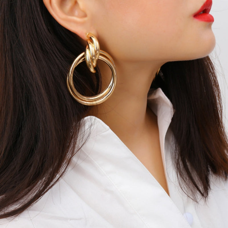 Women's Hoops Multi-Layer Circle Design Personality Stylish Earrings - Lova