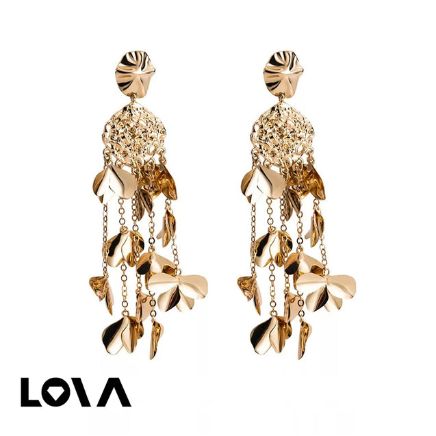 Women's Drop Earrings Exaggerated Flower Design Long Tassel Decor Accessories - LovastyleOfficial