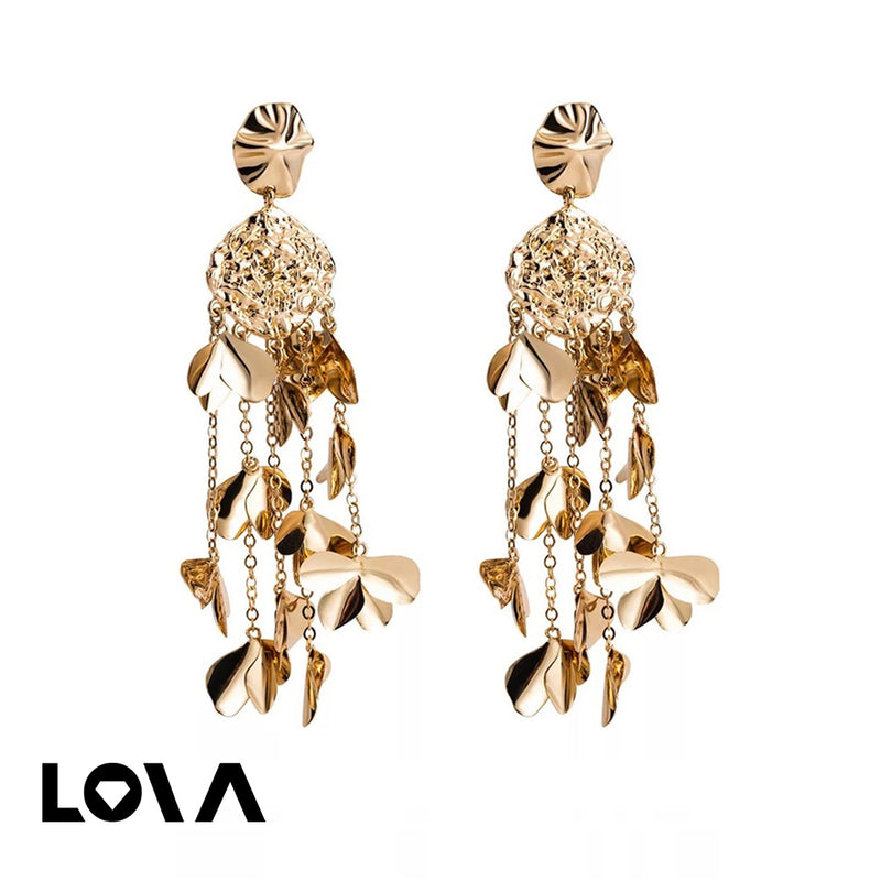Women's Drop Earrings Exaggerated Flower Design Long Tassel Decor Accessories - Lova