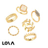 6 Pcs Women's Fashion Ring Set Personality Simple Leaf - Lova