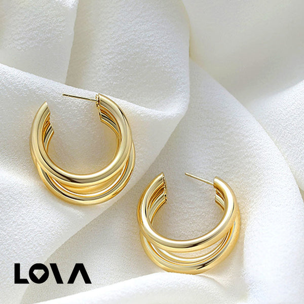 Women's Hoops Solid Color Ladylike Earrings Accessory - Lova