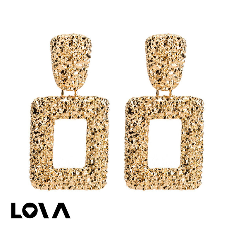 Women's Drop Earrings Geometric Pattern Punk Earrings Accessory - Lova