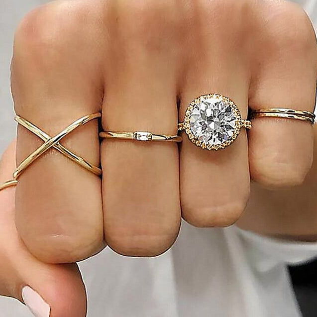 5 Pcs Women's Ring Set Ladylike Creative Rings Accessory - Lova