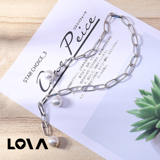 Women's Fashion Necklace Hollow Out Design Pearl Decor Stylish Accessory - Lova