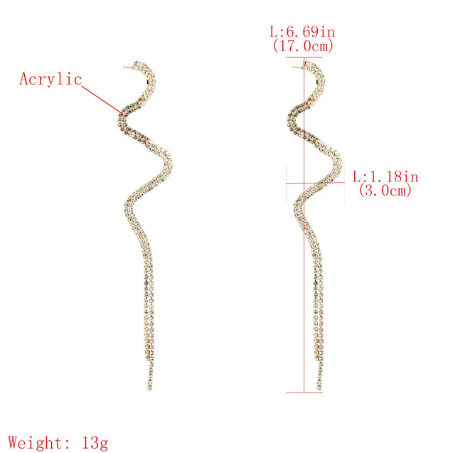 Women's Drop Earrings Exaggerated Retro Long Design Rhinestone Decor Accessory - Lova