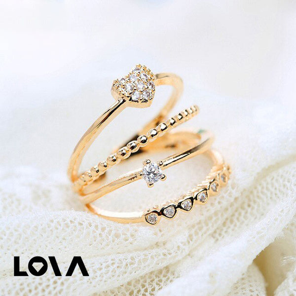 4 Layers Heart Zircon Ring for Woman- - Lova