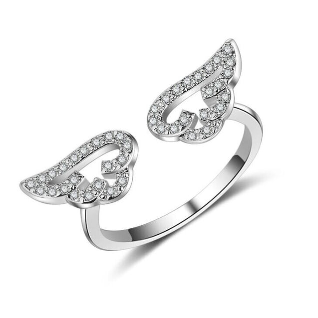 Kakaboom Angel Wings Adjustable Zircon Rings for women Resizable Electroplate Rings - Lova