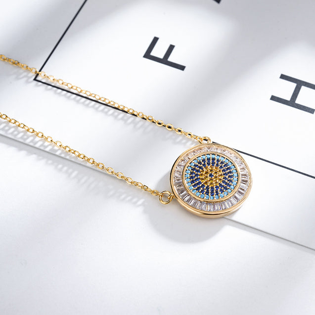 Lucky Eye Zircon Evil Eye Pendant Necklace For Women Blue Eye Necklace - Lova