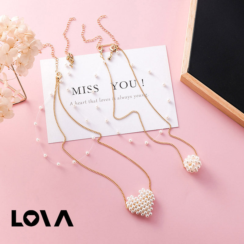 Korean New Elegant Double Layer Heart Round Ball Simulated Pearl Necklace - Lova