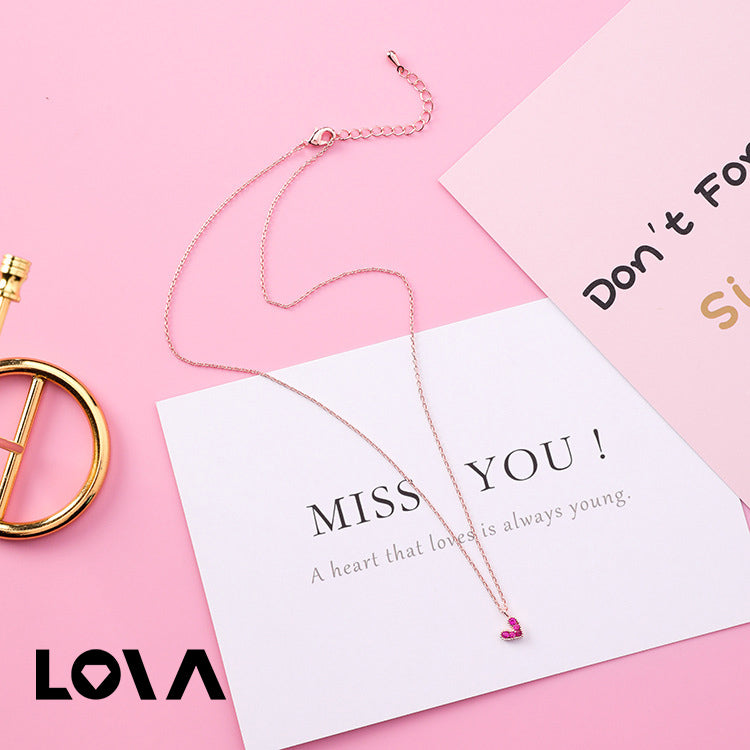 Rose Gold Chain Small Red Cubic Zircon Love Heart Pendant Chocker Necklace for Women - Lova