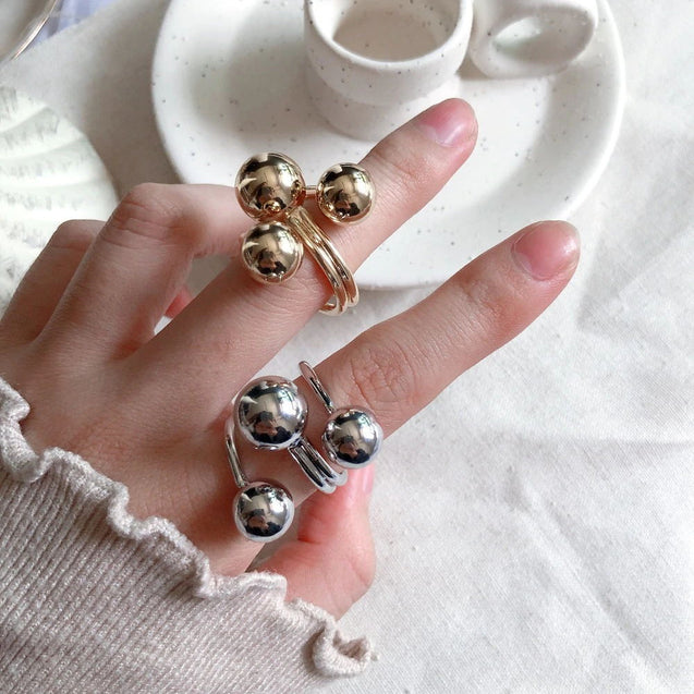 New Fashion Punk Style Finger Ring Women Adjustable Opening Rings with Metal Balls Jewelry - Lova