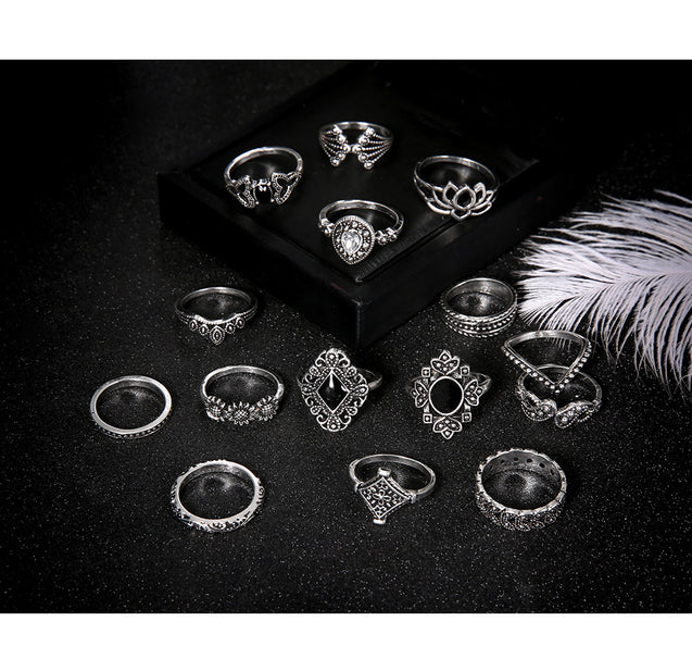 Women's 15 Pcs Ring Set Retro Stylish Hollow Floral Design Ring Suit - LovastyleOfficial
