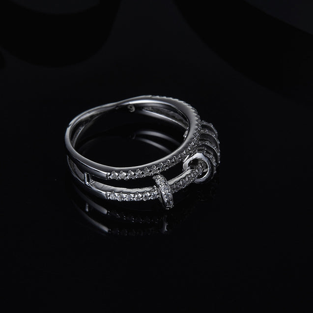 Micropave with Zirconia Stones Double Line Ring with Mini Rings - Lova