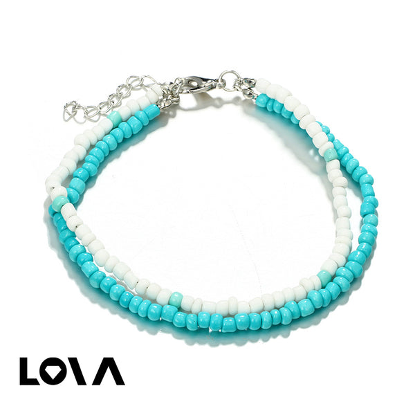 Pcs Women's Anklet Chain Set Simple Beads Design All Match Accessories - Lova