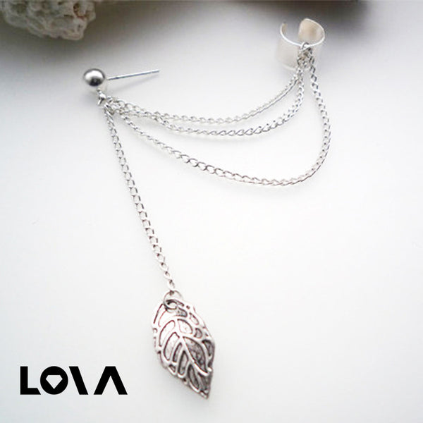 Women Stylish Tassel Leaf Embellished Ear Cuff Silver Earring - Lova