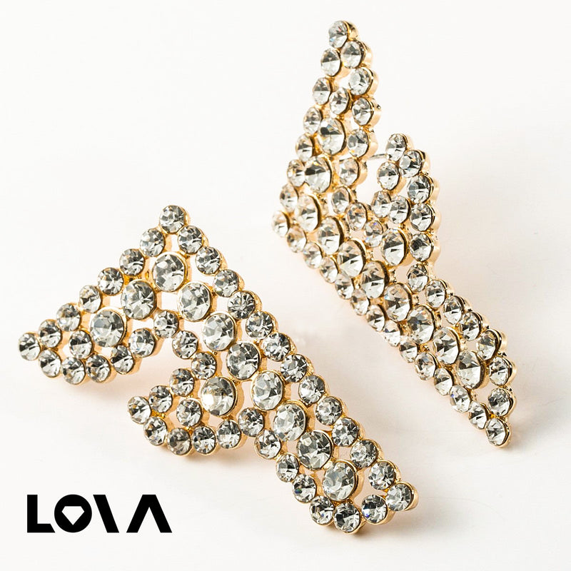 High Quality Shiny Rhinestone Letter F Charm Stud Earrings - Lova
