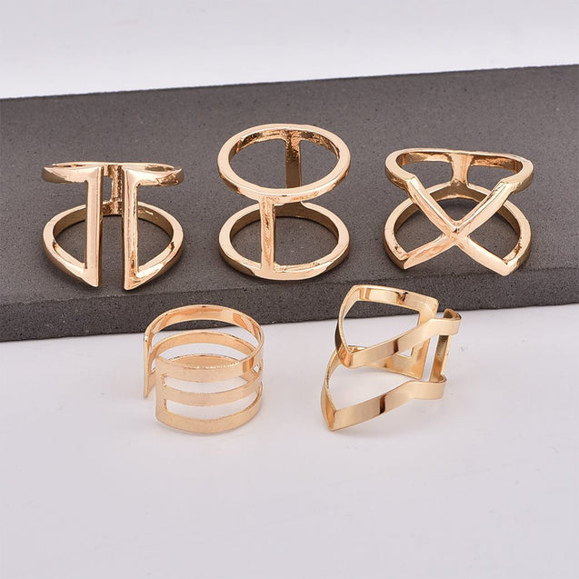 5 Pcs Women's Multi Finger Ring Simple Geometry Layering Stylish - LovastyleOfficial