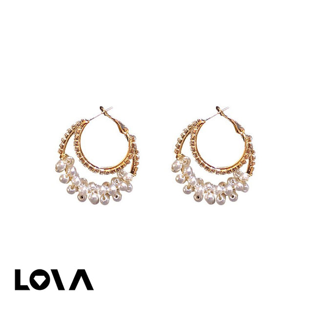 Women's Hoops Sweet Style Circle Design Rhinestone Pearl Decor Accessories - Lova