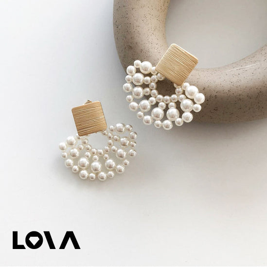 Women's Studs Stylish Solid Color Fan Design Pearl Decor All Match Accessories - Lova