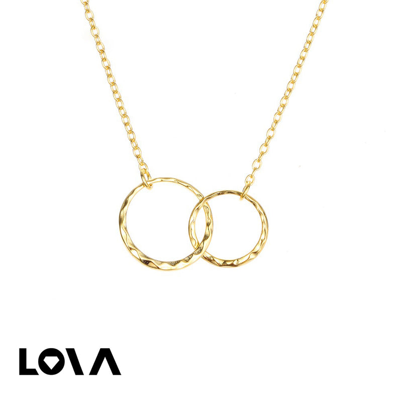 Simple double-ring clavicle chain 925 silver short necklace - Lova