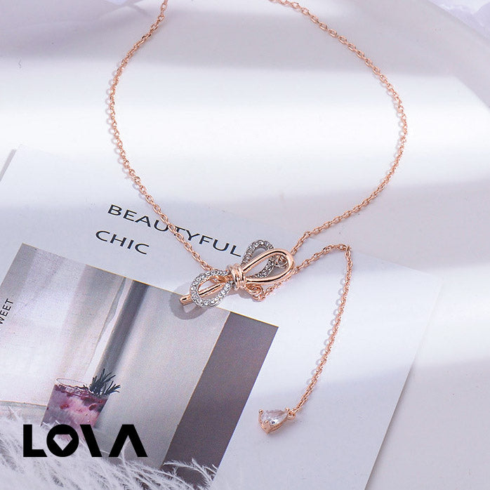 Butterfly-knot Y-Necklace Charm Fashionable Romantic - Lova