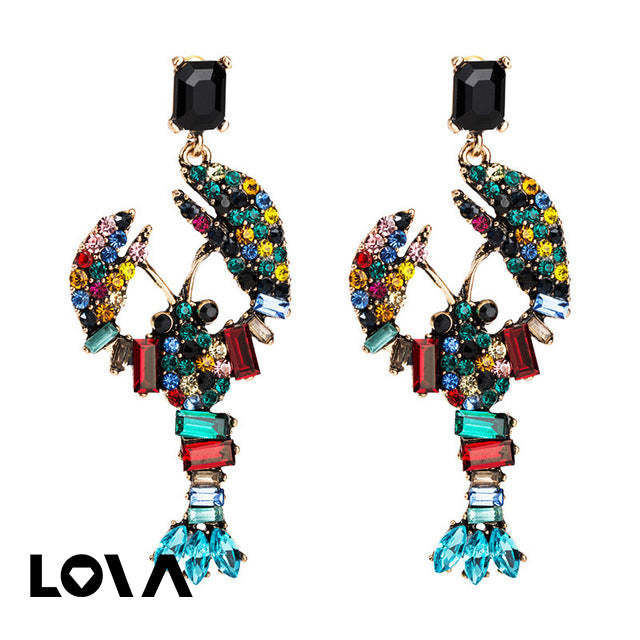Pomlee Lobster Shape Acrylic Glass Drop Earrings Jewelry Earrings - Lova