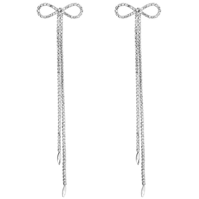 Rhinestone Bow Dangle Earrings - Lova