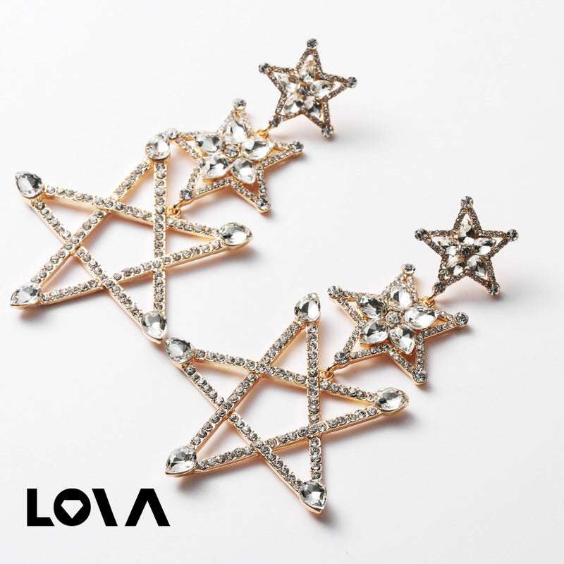 Shiny Crystal Silver Gold color Pentagram Pendant Earings - Lova